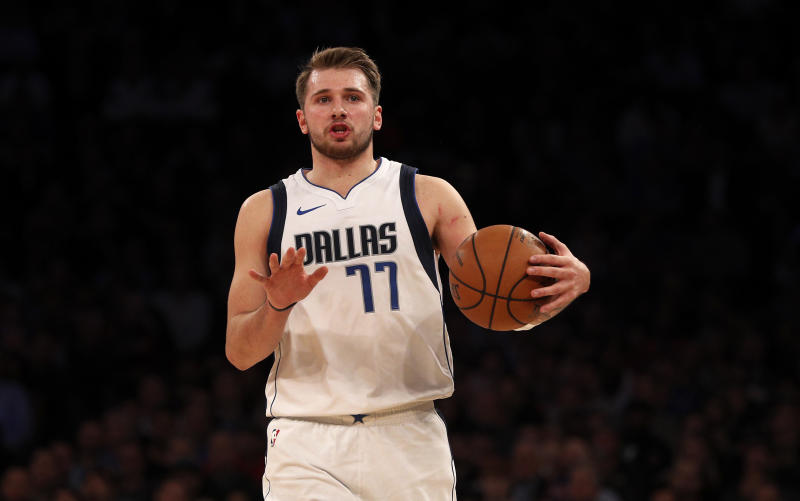 Luka Doncic #77 of the Dallas Mavericks in action against the New York Knicks