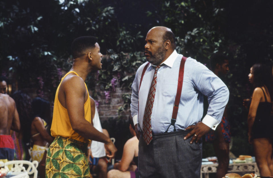 "THE FRESH PRINCE OF BEL-AIR -- ""Will Goes a Courtin'"" Episode 6 -- Pictured: (l-r) Will Smith as William 'Will' Smith, James Avery as Philip Banks  (Photo by Gary Null/NBCU Photo Bank/NBCUniversal via Getty Images via Getty Images)"