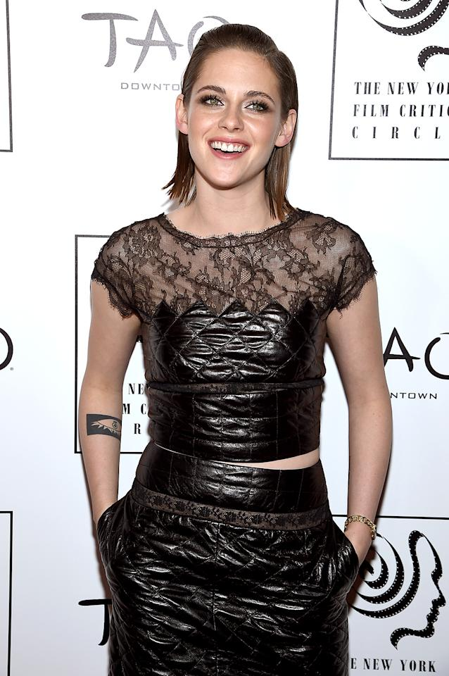 """<p>""""Google me, I'm not hiding,"""" <a rel=""""nofollow"""" href=""""https://www.yahoo.com/celebrity/kristen-stewart-opens-up-about-her-sexuality-but-126564620446.html"""">she admitted</a> to <em>Nylon</em> magazine. """"If you feel like you really want to define yourself, and you have the ability to articulate those parameters and that in itself defines you, then do it. … But I am an actress, man. I live in the f***ing ambiguity of this life and I love it. I don't feel like it would be true for me to be like, 'I'm coming out!'"""" (Photo: Dimitrios Kambouris/Getty Images) </p>"""