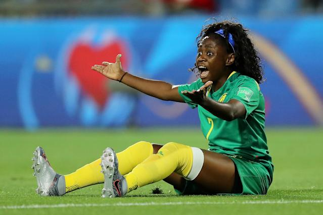 Gabrielle Aboudi Onguene of Cameroon reacts during the 2019 FIFA Women's World Cup France group E match between Canada and Cameroon at Stade de la Mosson on June 10, 2019 in Montpellier, France. (Photo by Elsa/Getty Images)