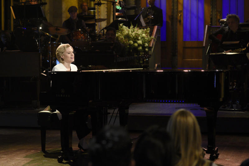 "Kate McKinnon sings ""Hallelujah"" during the ""Saturday Night Live"" cold open on Nov. 12, 2016. (NBC via Getty Images)"