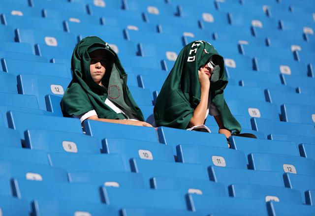 Soccer Football - World Cup - Group F - South Korea vs Mexico - Rostov Arena, Rostov-on-Don, Russia - June 23, 2018 Mexico fans inside the stadium before the match REUTERS/Marko Djurica
