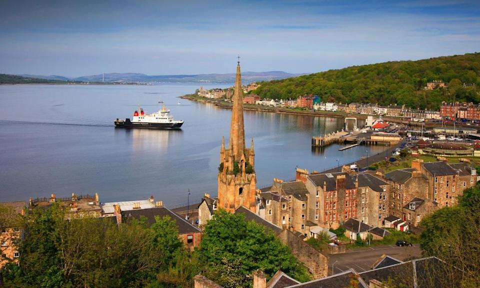 The ferry arrives at Rothesay on the Island of Bute, Argyll
