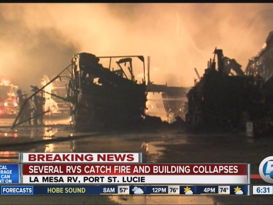 RVs destroyed after overnight fire in Port St  Lucie