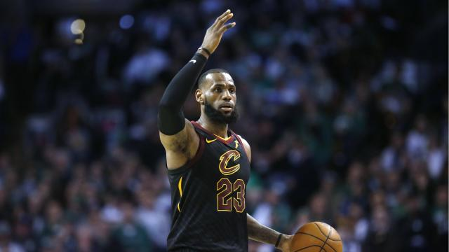 Cleveland Cavaliers' LeBron James plays against the Boston Celtics during the third quarter of an NBA basketball game in Boston. The Cavaliers won 121-99. (AP)