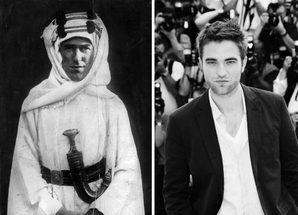 """(FILE PHOTO) In this composite image a comparison has been made between Thomas Edward Lawrence (Lawrence Of Arabia) (L) and actor Robert Pattinson. Robert Pattinson will reportedly play T. E. Lawrence in a film biopic """"Queen of the Desert"""" directed by Werner Herzog. ***LEFT IMAGE*** 1918: British soldier, adventurer and author Thomas Edward Lawrence (1888 - 1935) known as Lawrence Of Arabia. He joined the Arab revolt against the Ottoman Empire during World War I and was instrumental in the conquest of Palestine (1918). (Photo by Hulton Archive/Getty Images) ***RIGHT IMAGE*** CANNES, FRANCE - MAY 25: (Editors Note: Image has been converted to black and white) Actor Robert Pattinson poses at the """"Cosmopolis"""" photocall during the 65th Annual Cannes Film Festival at Palais des Festivals on May 25, 2012 in Cannes, France. (Photo by Vittorio Zunino Celotto/Getty Images)"""