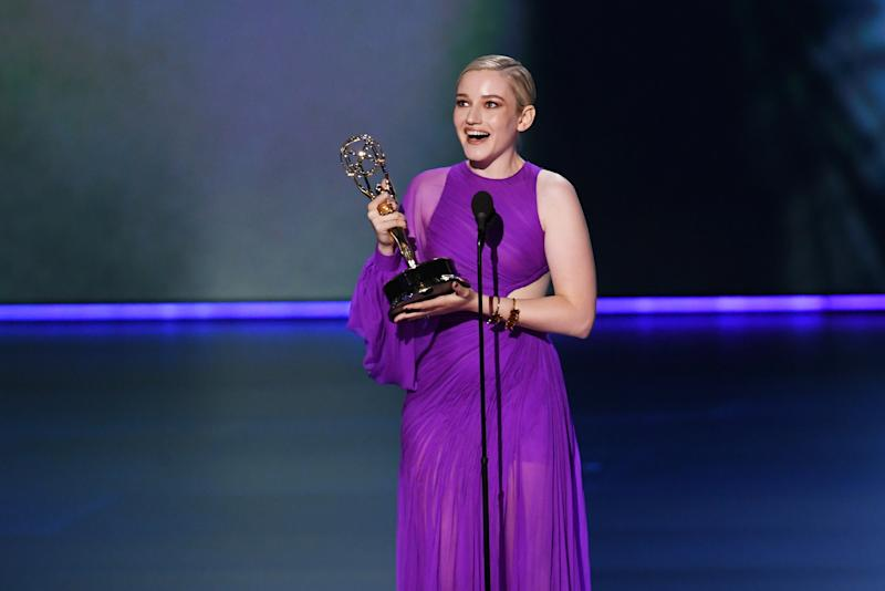 LOS ANGELES, CALIFORNIA - SEPTEMBER 22: Julia Garner accepts the Outstanding Supporting Actress in a Drama Series award for 'Ozark' onstage during the 71st Emmy Awards at Microsoft Theater on September 22, 2019 in Los Angeles, California. (Photo by Kevin Winter/Getty Images)