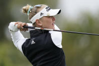 Jessica Korda tees off at the 11th hole during the second round of the LPGA's Hugel-Air Premia LA Open golf tournament at Wilshire Country Club Thursday, April 22, 2021, in Los Angeles. (AP Photo/Ashley Landis)