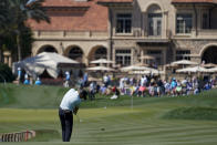 Talor Gooch hits from the fairway on the 18th hole during the second round of the The Players Championship golf tournament Friday, March 12, 2021, in Ponte Vedra Beach, Fla. (AP Photo/Gerald Herbert)