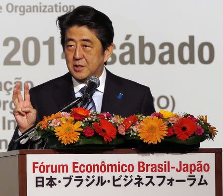 Japan's Prime Minister Shinzo Abe speaks during the Brazil-Japan Economic Forum opening ceremony in Sao Paulo