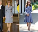 <p>Same brand, same color, similar silhouette, different years! The Duchess of Cambridge has been wearing her blue Michael Kors jacket since 2014, but Trump was just seen wearing hers for the first time in May while abroad in Brussels. (Photos: Getty Images) </p>