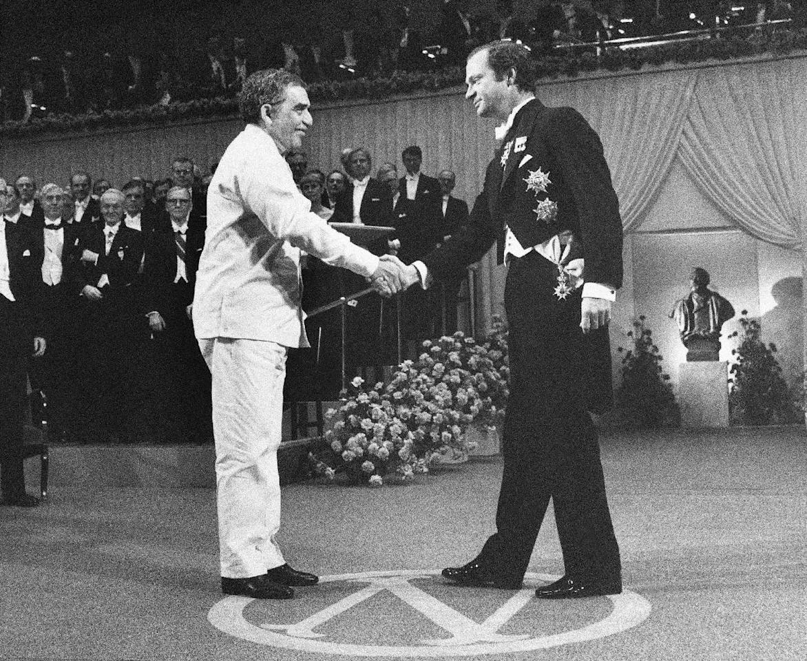 FILE - In this Dec. 8, 1982 file photo, Gabriel Garcia Marquez receives the literature award from King Carl Gustaf at the Concert Hall in Stockholm, Sweden. Marquez died Thursday April 17, 2014 at his home in Mexico City. (AP Photo/Bjorn Elgstrand, Pool, File)