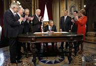 <p>Pelosi and other members of the Congressional leadership applaud after Obama is sworn in for his second term as President. <br></p>