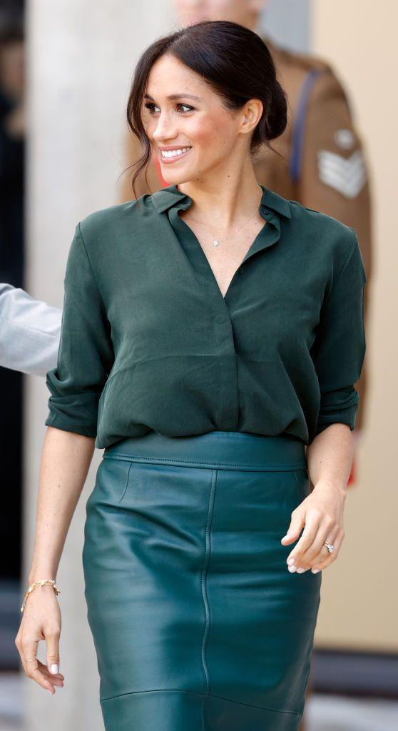 <p>And here she is again with a casual low bun in October 2018. We've got to give it to her, the girl can rock a messy updo.</p>