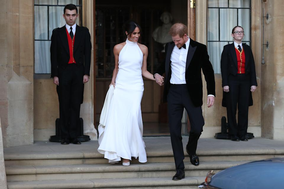 Meghan changed into a second gown by Stella McCartney for the evening reception (Getty)