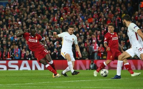 Sadio Mane of Liverpool scores their third goal during the UEFA Champions League Semi Final First Leg match between Liverpool and A.S. Roma  - Credit: Alex Livesey - Danehouse/Getty Images