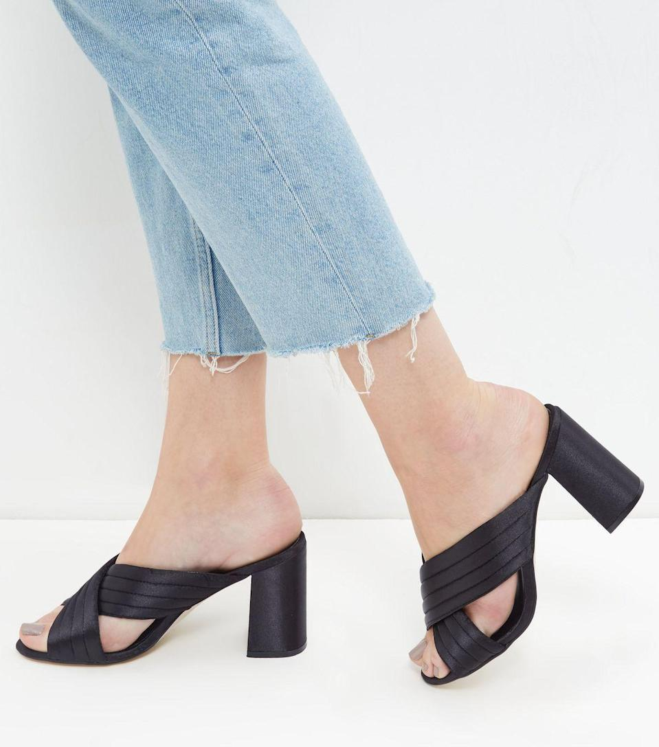 """<p><a href=""""http://www.newlook.com/shop/shoe-gallery/view-all-shoes/black-cross-strap-heeled-mules-_388026901?productFind=search"""" rel=""""nofollow noopener"""" target=""""_blank"""" data-ylk=""""slk:£27.99 from New Look"""" class=""""link rapid-noclick-resp"""">£27.99 from New Look</a></p>"""