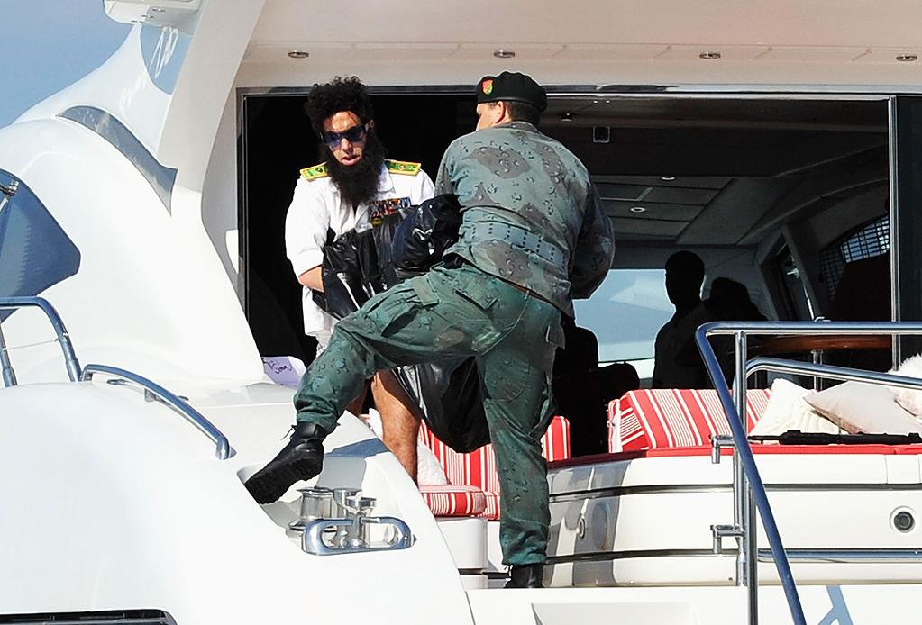 CANNES, FRANCE - MAY 16:  Admiral General Aladeen spotted on a luxury yacht at Hotel Du Cap during 65th Annual Cannes Film Festival on May 16, 2012 in Cannes, France.  (Photo by Gareth Cattermole/Getty Images)