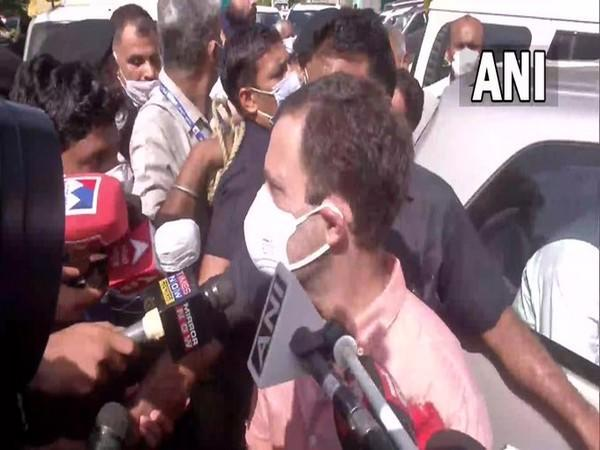 Congress leader Rahul Gandhi speaking to media after meeting the family of the rape victim.