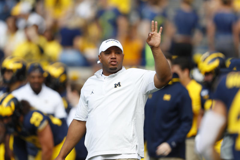 Michigan offensive coordinator Josh Gattis said he benefitted from having Maryland coach Mike Locksley as a mentor and resource. (AP Photo/Paul Sancya)