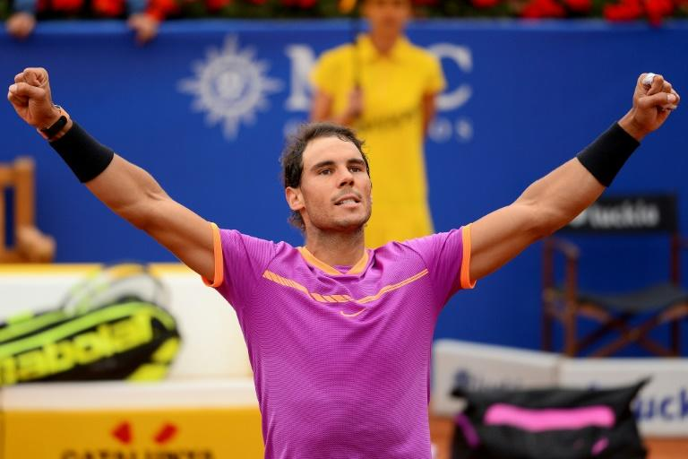 "Spanish tennis player Rafael Nadal celebrates his 6-3, 6-4 victory over Argentinian tennis player Horacio Zeballos during the ATP Barcelona Open ""Conde de Godo"" tennis tournament in Barcelona on April 29, 2017"