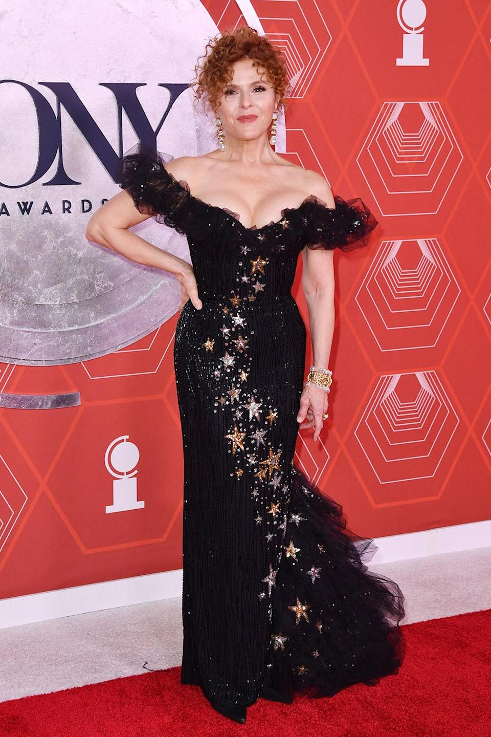 <p>Broadway legend Bernadette Peters made us all starstruck in an off-the-shoulder Bob Mackie gown embellished with stars. </p>