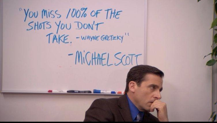 "Actor Steve Carrel as Michael Scott of ""The Office"" with Wayne Gretzky quote."