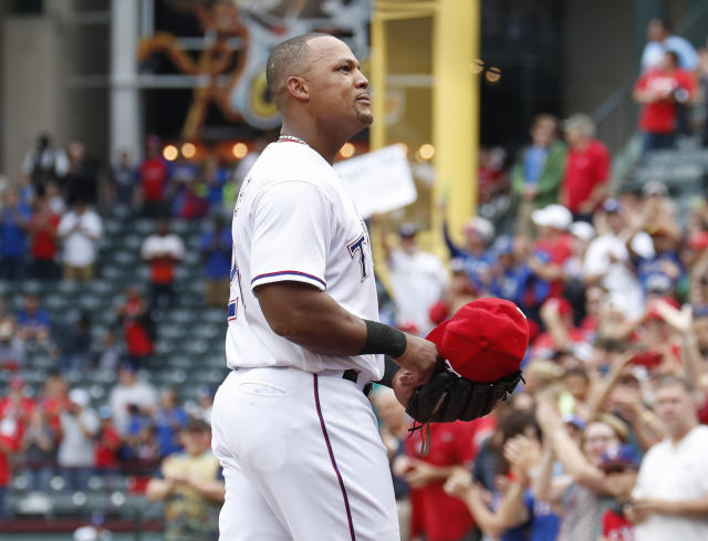 Texas Rangers' Adrian Beltre walks to the dugout after being relieved of his duties at third base during the sixth inning of a baseball game against the Seattle Mariners, Sunday, Sept. 23, 2018, in Arlington, Texas. (AP Photo/Jim Cowsert)