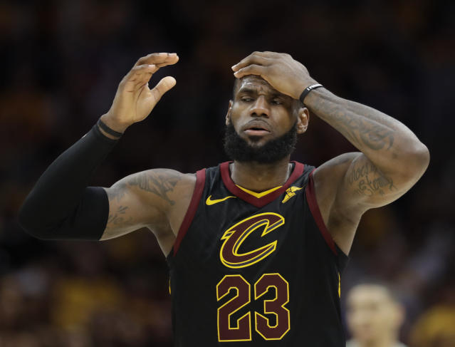 Visual proof LeBron James gets tired. (AP)