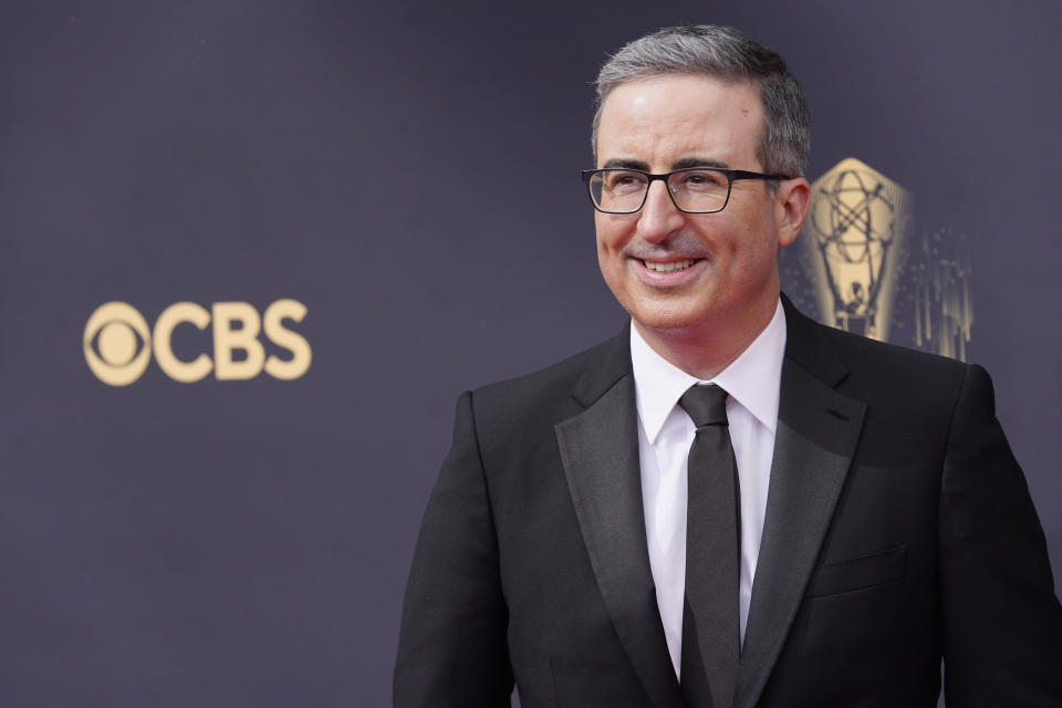John Oliver arrives at the 73rd Primetime Emmy Awards on Sunday, Sept. 19, 2021, at L.A. Live in Los Angeles. (AP Photo/Chris Pizzello)