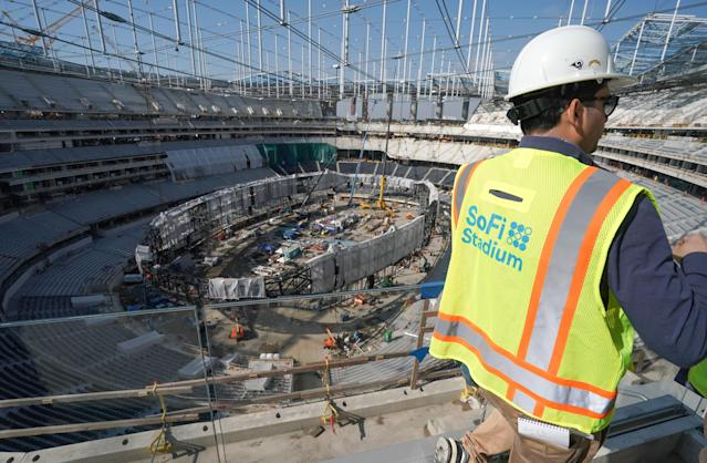 File photo: The giant Oculus 2-sided video board is being assembled inside on the floor of SoFi Stadium. The stadium is supposed to open at the end of July. (Photo by Scott Varley/MediaNews Group/Torrance Daily Breeze via Getty Images)