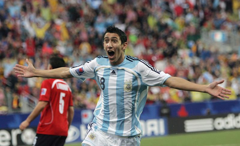 U20 SOCCER---07/19/07---Angel Di Maria celebrates his first goal of the game as Argentina and Chile play in the semi-final game at the Under 20 World Cup at the National Soccer Stadium at the Canadian National Exhibition grounds in Toronto, July 19, 2007. (Photo by Steve Russell/Toronto Star via Getty Images)