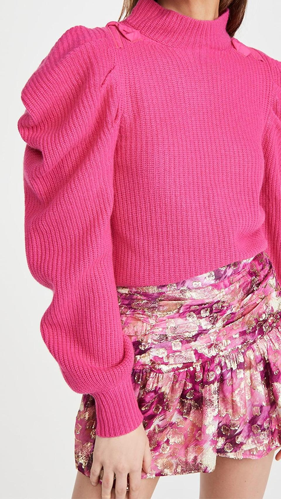 <p>We're loving all the details on this <span>LoveShackFancy Potter Cashmere Pullover</span> ($495).</p>