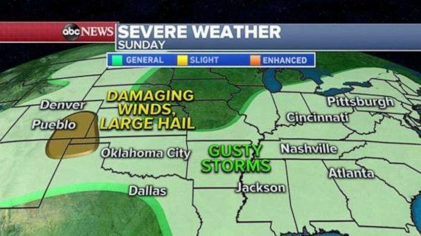 PHOTO: Today, severe weather is expected in two pockets, one area from Nashville to Chicago where damaging winds and a few tornadoes are possible. The other area will be from Omaha to Kansas City where large hail and a few tornadoes will also be possible. (ABC News)