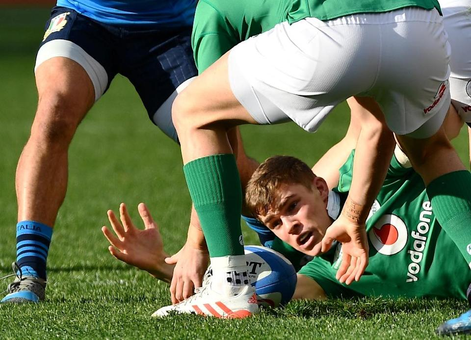 Ireland's Garry Ringrose catches the ball during their Six Nations rugby union against Italy, at the Olympic Stadium in Rome, on February 11, 2017 (AFP Photo/Vincenzo Pinto)