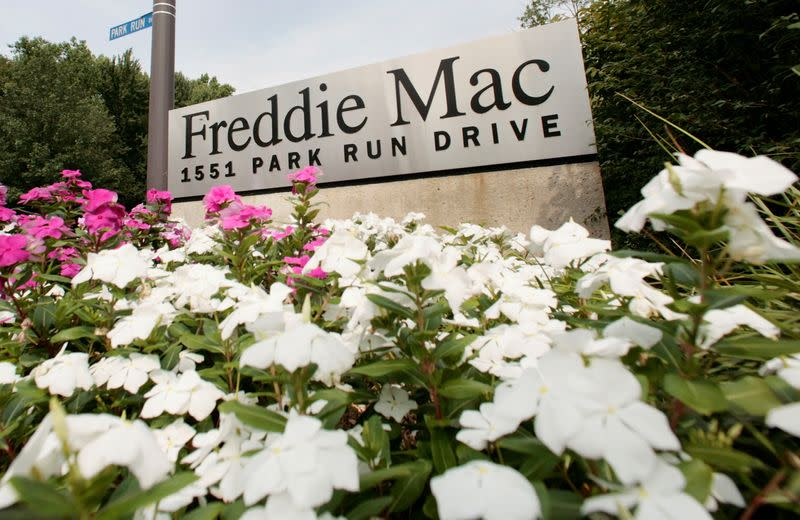 FILE PHOTO: The corporate logo for Freddie Mac is seen at its headquarters building in McLean