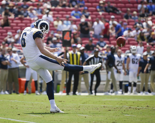 FILE - In this Saturday, Aug. 25, 2018 file photo, Los Angeles Rams punter Johnny Hekker punts the ball during the first half in an NFL preseason football game against the Houston Texans in Los Angeles. Spending a draft pick on a punter isnt unusual in the NFL because field position still matters in the league. When that rookie comes in and shows off a booming leg, people take notice. Michael Dickson edged out Johnny Hekker of the Los Angeles Rams as the NFLs top punter in 2018 in voting released Friday, Dec. 7, 2018 by a panel of 10 football writers for The Associated Press. Dickson received four first-place votes and was the only punter listed on every ballot.(AP Photo/Kelvin Kuo, File)