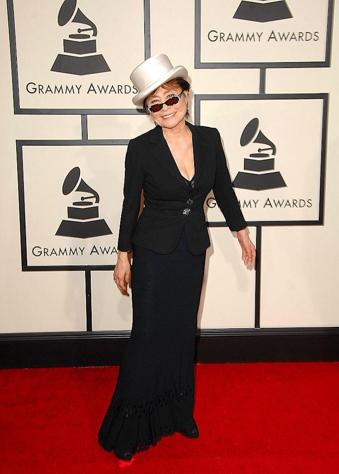 "Ono she didn't?! Former John Lennon muse Yoko Ono has never been one to impress on the red carpet, but she outdid herself this year in a tacky top hat. Steve Granitz/<a href=""http://www.wireimage.com"" target=""new"">WireImage.com</a> - February 10, 2008"