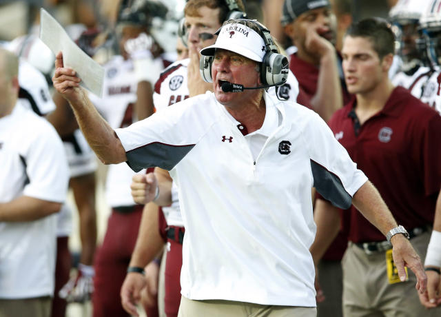 South Carolina head coach Steve Spurrier yells to his team during the first half of an NCAA college football game against Vanderbilt, Thursday, Aug. 30, 2012, in Nashville, Tenn. (AP Photo/John Russell)