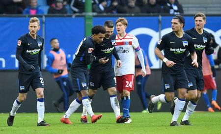 Soccer Football - Bundesliga - Hamburger SV vs Hertha BSC - Volksparkstadion, Hamburg, Germany - March 17, 2018 Hertha Berlin's Valentino Lazaro celebrates scoring their first goal REUTERS/Fabian Bimmer