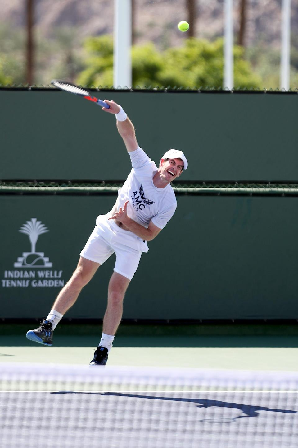 Andy Murray practices at the Indian Wells Tennis Garden during at the BNP Paribas Open in Indian Wells, Calif., on October 5, 2021.