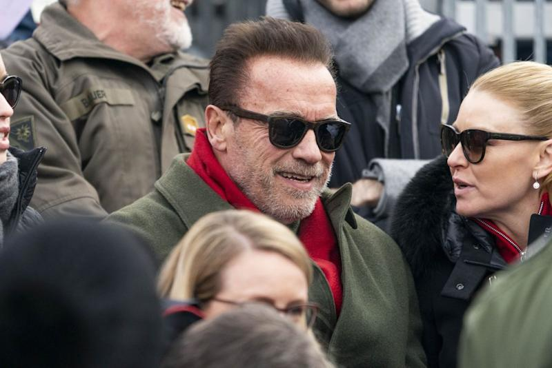 Arnold Schwarzenegger during the Audi FIS Alpine Ski World Cup on January 25, 2020 in Kitzbuehel, Austria.