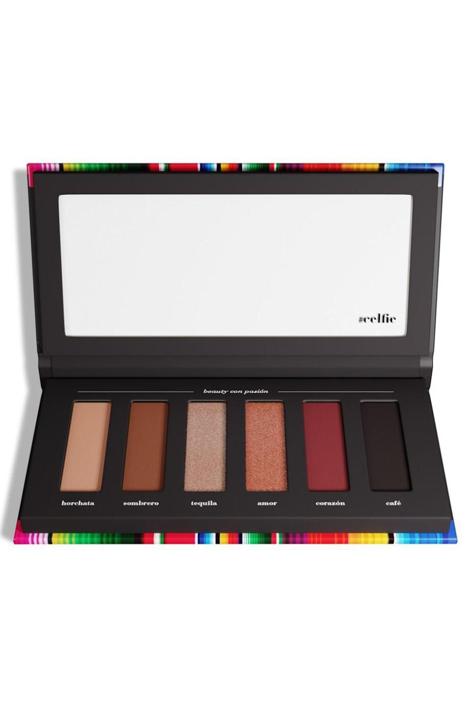 """<p>aracelibeauty.com</p><p><strong>$30.00</strong></p><p><a href=""""https://aracelibeauty.com/products/eye-shadow-palette"""" rel=""""nofollow noopener"""" target=""""_blank"""" data-ylk=""""slk:Shop Now"""" class=""""link rapid-noclick-resp"""">Shop Now</a></p><p>All you need are these six shades to pull together a multitude of makeup looks for both daytime and nighttime. Create a '90s-inspired<strong> <a href=""""https://www.cosmopolitan.com/style-beauty/beauty/how-to/g3016/smoky-eye-how-to/"""" rel=""""nofollow noopener"""" target=""""_blank"""" data-ylk=""""slk:smokey eye"""" class=""""link rapid-noclick-resp"""">smokey eye</a> with the soft, warm, and dark brown matte shadows</strong>, or throw in a few of the shimmers and the rich red to punch it up a bit. </p>"""