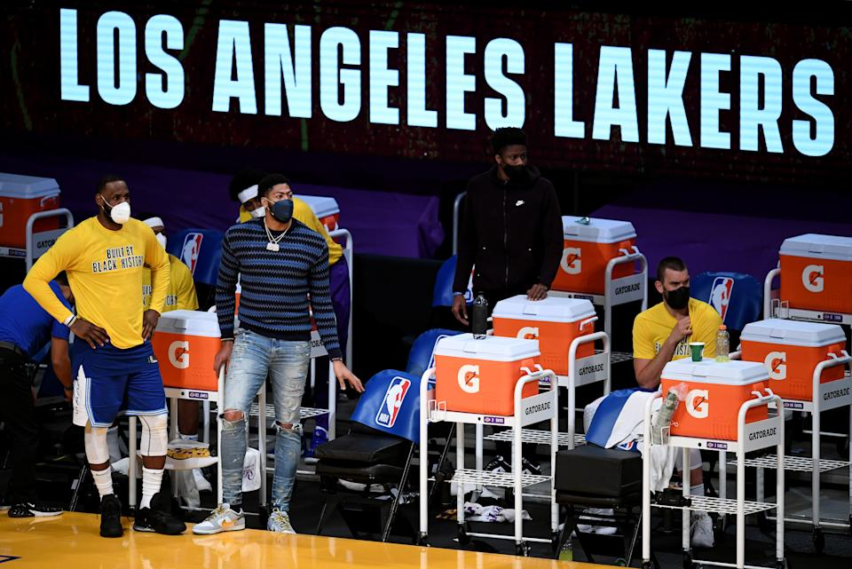 The Lakers could be staring up at a guaranteed playoff spot when LeBron James and Anthony Davis return from injury. (Keith Birmingham/Pasadena Star-News via Getty Images)