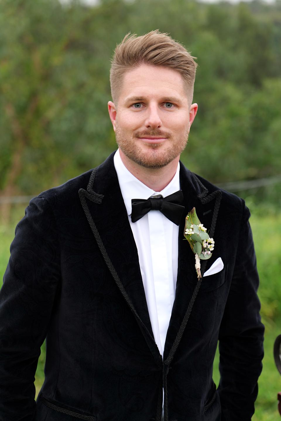 Bryce Ruthven wearing a tux on Married At First Sight