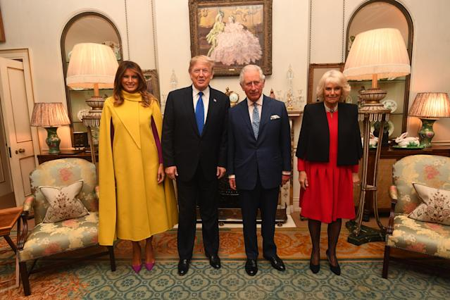 The Prince of Wales and the Duchess of Cornwall meets US President Donald Trump and wife Melania at Clarence House prior to the NATO reception. [Photo: PA]