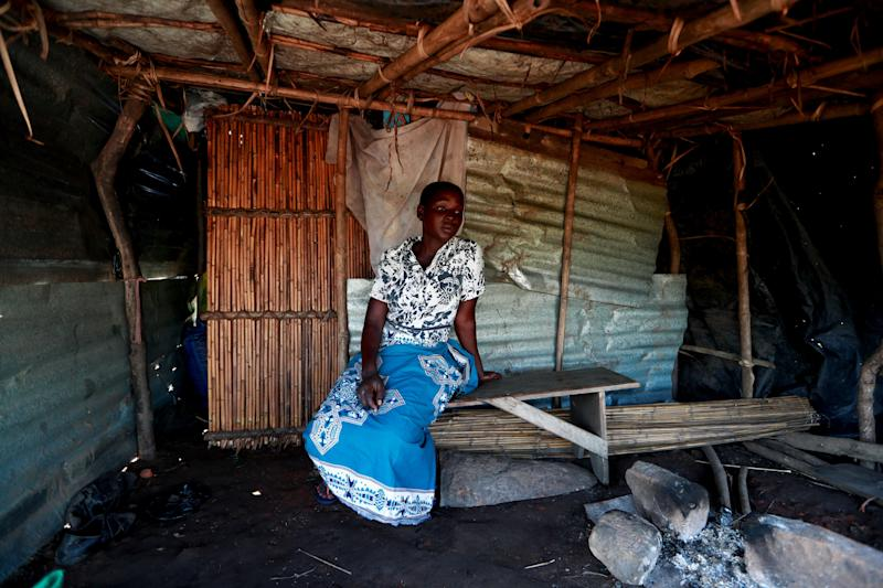 "Maria Jofresse, 25, sits at her makeshift shelter during an interview with Reuters, in the aftermath of Cyclone Idai, outside the village of Cheia, which means ""Flood"" in Portuguese, near Beira, Mozambique April 2, 2019. (Photo: Zohra Bensemra/Reuters)"