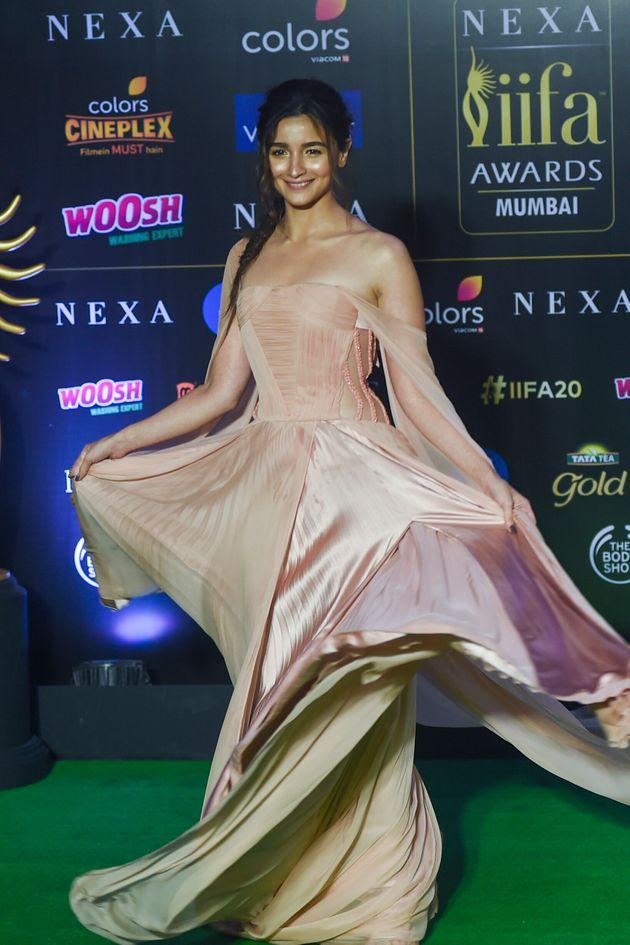 Alia Bhatt won the award for best performance in a leading role (female) for Raazi. Bhatt is seen here in a Georges Chakra gown.