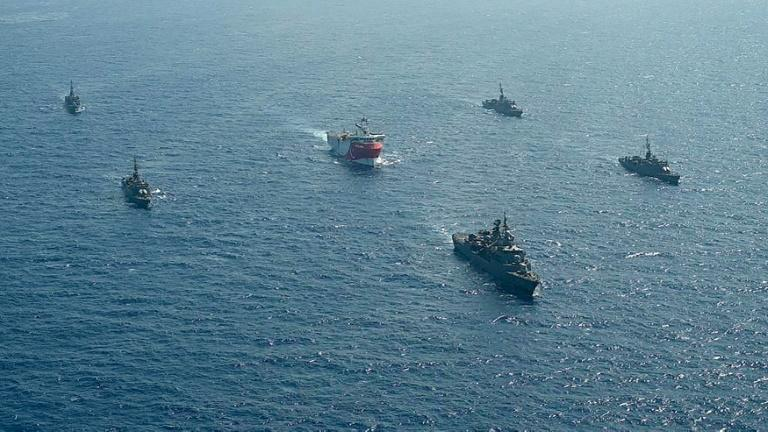 Turkey's energy exploration vessel is being escorted by warships