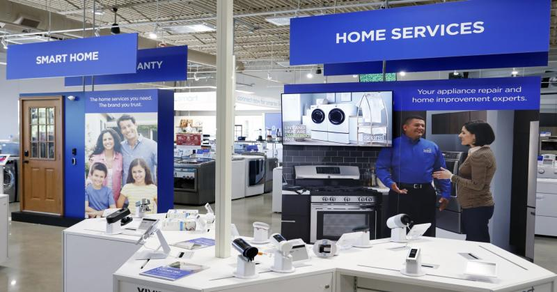 The Sears Home & Life store offers Smart Home and Home Services areas, where shoppers can explore connected home products and shop replacement parts for any appliance.
